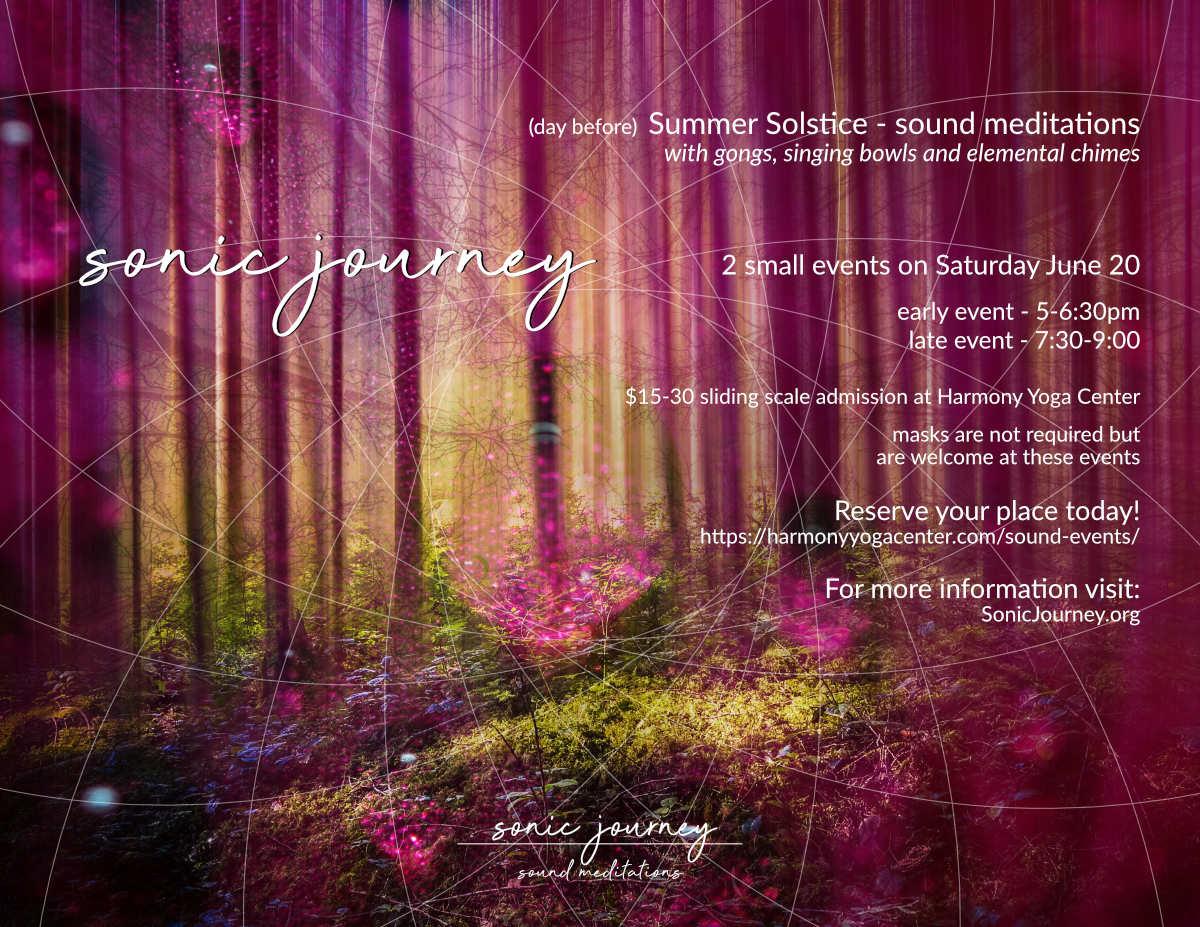 Sonic Journey sound meditation at Harmony yoga Center June 16 2021